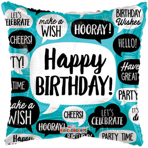 "18"" Happy Birthday Quotes Helium Foil Balloon (5 Pack)#15815"