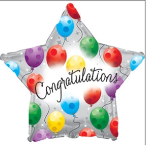 "18"" Congratulations White Star Shape Helium Foil  #817179 (5 PACK)"
