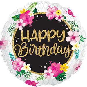 "18"" Happy Birthday Tropical  Print Helium Foil Balloon (5 Pack) #117408"