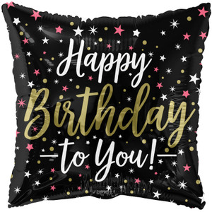 "18"" Happy Birthday To You Black Square Foil Balloons (5 Pack)#15820"