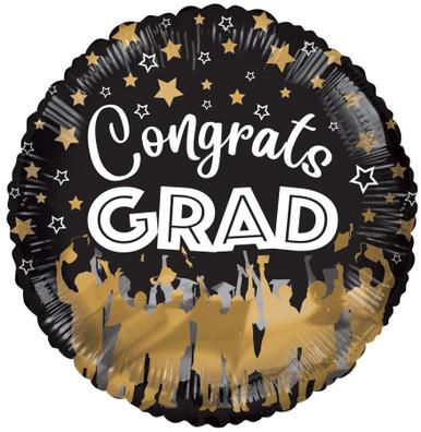 graduation balloons, congrats grad black