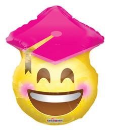 graduation balloons pink cap smile face