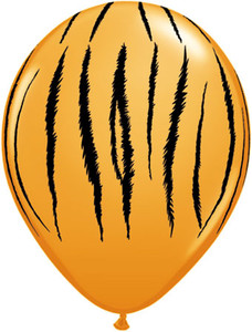 "11"" Qualatex Safari Tiger Stripes Print Balloon  50 Bag #55474"