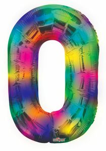 "34"" Large Rainbow Number # 0 Balloons 1ct # 11690"