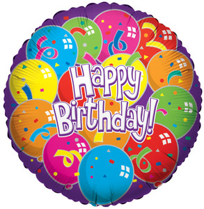 """18"""" Happy Birthday Lots Of Balloons Foil Balloons (5 Pack)#17801"""