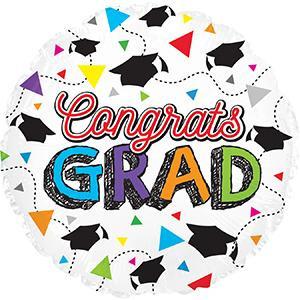 "9"" Mini Congrats Grad Balloon Triangle Air Fill (5PACK) #124371"