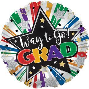 "18"" Way to Go grad Star Burst Graduation Balloon (5 Pack)#114428"