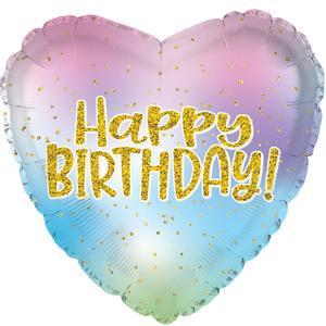 "18"" Happy Birthday Iridescent Heart Helium Foil Balloon (5 PACK) #214118"