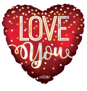 """18"""" Love You Red With Floating Hearts Helium Foil Balloons (5 PACK)#16227"""