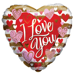 """18"""" Love You Contemporary Hearts Helium Foil Balloons (5 PACK)#16236"""