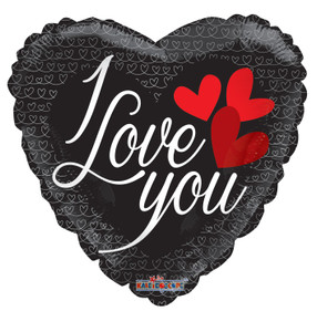 love you black heart balloon