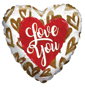 """9"""" Love You Script Gold Hearts White Heart Air Fill Only Foil Balloon (5 Pack) #16233"""