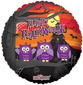 """18"""" Halloween Owls & Bats Helium Foil Balloon (5 PACK)#88087"""