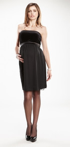 Strapless Formal Maternity Dress in Black Velvet and Chiffon