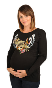 One Lucky Mother Long Sleeve Maternity Tee