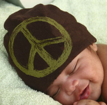 Brown Baby Hat with Army Green Peace Sign