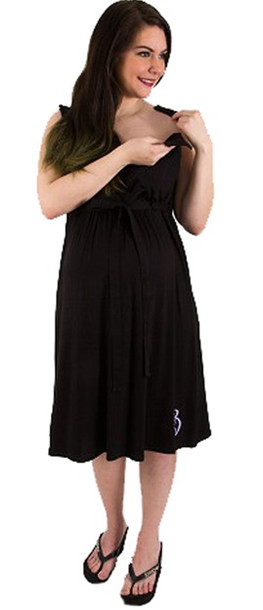 086d2a08fc676 Nightie Night Black Hospital Delivery and Nursing Gown - Stella ...