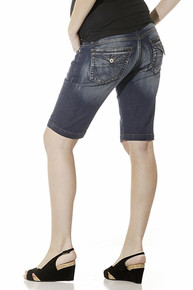 Tummy Trimmer Denim Maternity Bermuda Shorts
