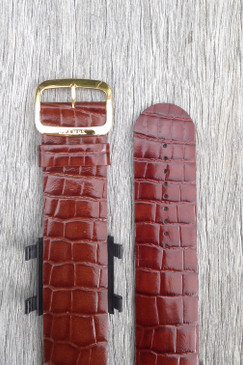 Brown Croco Leather Wrist Bracelet