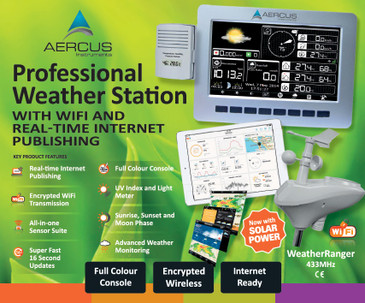 Aercus Instruments WeatherRanger Weather Station with WiFi and Internet Publishing plus Setup eBook