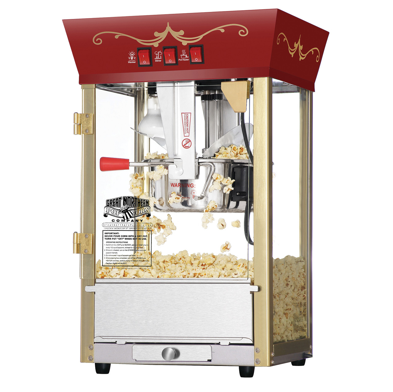 Great Northern Popcorn Red Antique Style Popcorn Popper Machine 8 Ounce Great Northern Popcorn