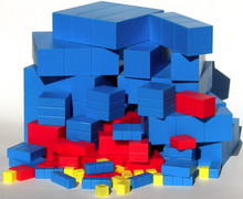 An individual set of Fair Lands™ blocks consists of an individual set of Two Land blocks consisting of 8 unit cubes, 5 longs, 4 flats, 3 super cubes, 3 super longs, 3 super flats, and 1 mega cube (27 blocks total) from 1 cubic centimeter to 4 cubic centimeters by doubling and an individual set of Three Land blocks consisting of 10 unit cubes, 6 longs, 5 flats, 5 super cubes, 5 super longs, 5 super flats, and 1 mega cube (37 blocks total) from 1 cubic centimeter to 9 cubic centimeters by tripling.