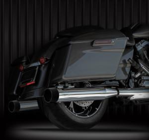 "RCX Exhaust 4.0"" Slip-on Mufflers, Chrome with Blitz black Tips."