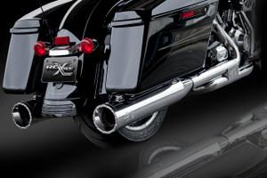"RCX Exhaust 4.5"" Slip-on Mufflers, Chrome with Rage Chrome Tips."