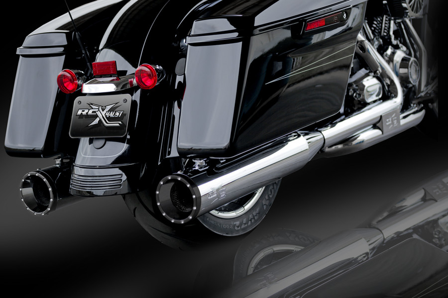 """RCX Exhaust 4.5"""" Slip-on Mufflers, Chrome with Rage Eclipse Tips."""