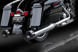 "RCX Exhaust 4.5"" Slip-on Mufflers, Chrome with Rival Eclipse Tips."