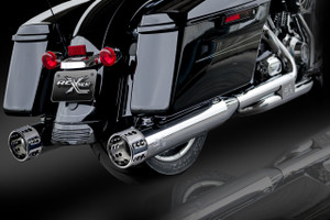 "RCX Exhaust 4.5"" Slip-on Mufflers, Chrome with Gatlin Chrome Tips."