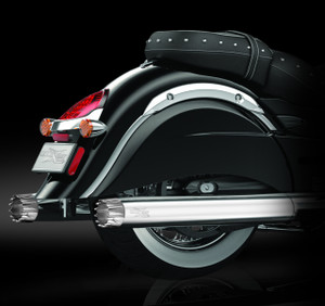 """RCX Exhaust 4.0"""" Slip-on Mufflers, Chrome with Excalibur chrome tips."""