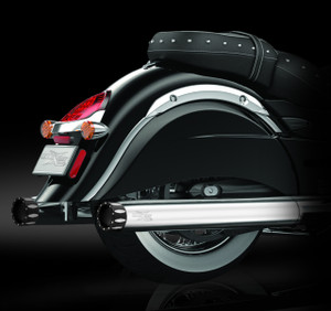 """RCX Exhaust 4.0"""" Slip-on Mufflers, Chrome with Rival Eclipse Tips."""