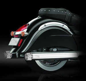 """RCX Exhaust 4.0"""" Slip-on Mufflers, Chrome with Rouge chrome tips."""