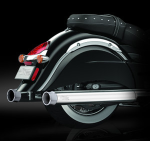 "RCX Exhaust 4.0"" Slip-on Mufflers, Chrome with Thunder chrome tips."