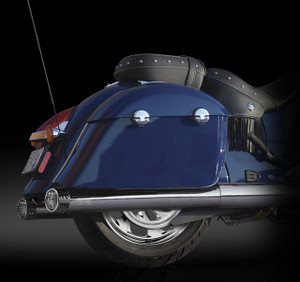 "RCX Exhaust 4.0"" Slip-on Mufflers, Chrome with Gatlin chrome tips."