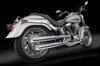 """RCX Exhaust  3.0"""" slip-on mufflers with Rival chrome tips."""