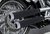"""RCX Exhaust  3.0"""" ceramic black slip-on mufflers with Rival chrome tips."""