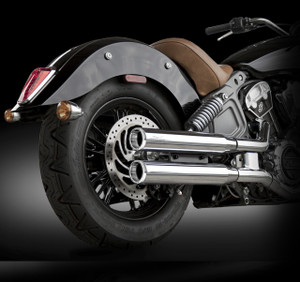 """RCX Exhaust  3.0"""" slip-on mufflers with Rival Shorty chrome tips."""