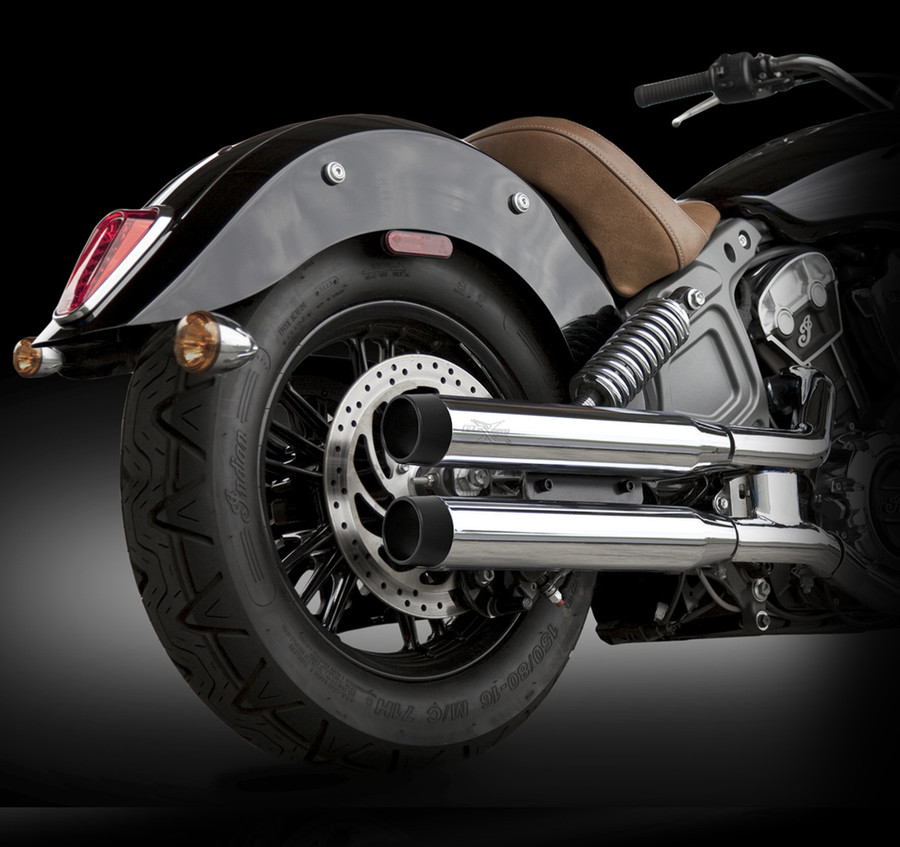 "RCX Exhaust  3.0"" slip-on mufflers with Blitz black tips."