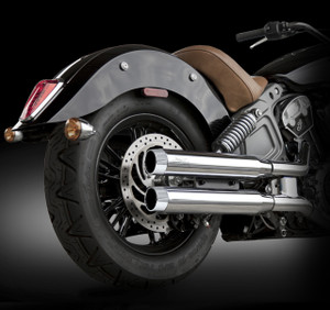 "RCX Exhaust  3.0"" slip-on mufflers with Blitz chrome tips."