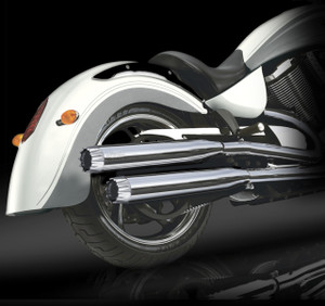 "RCX Victory Exhaust  3.0"" slip-on mufflers with Excalibur chrome tips."