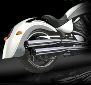 """RCX Victory Exhaust  3.0"""" slip-on mufflers with Rival Shorty Eclipse tips."""