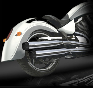 "RCX Victory Exhaust  3.0"" slip-on mufflers with Blitz black tips."
