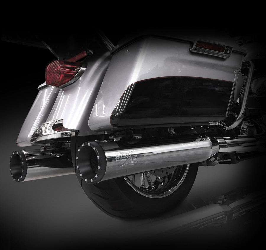 """RCX Exhaust 4.5"""" Slip-on Mufflers for 2017 Harley Touring, Chrome with Rage Eclipse Tips."""