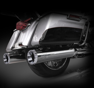 "RCX Exhaust 4.5"" Slip-on Mufflers for 2017 Harley Touring, Chrome with Rage Chrome Tips."