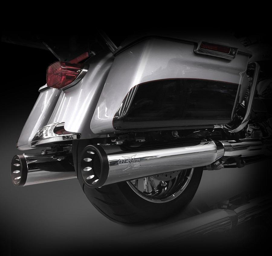 """RCX Exhaust 4.5"""" Slip-on Mufflers for 2017 Harley Touring, Chrome with Torx Eclipse Tips."""