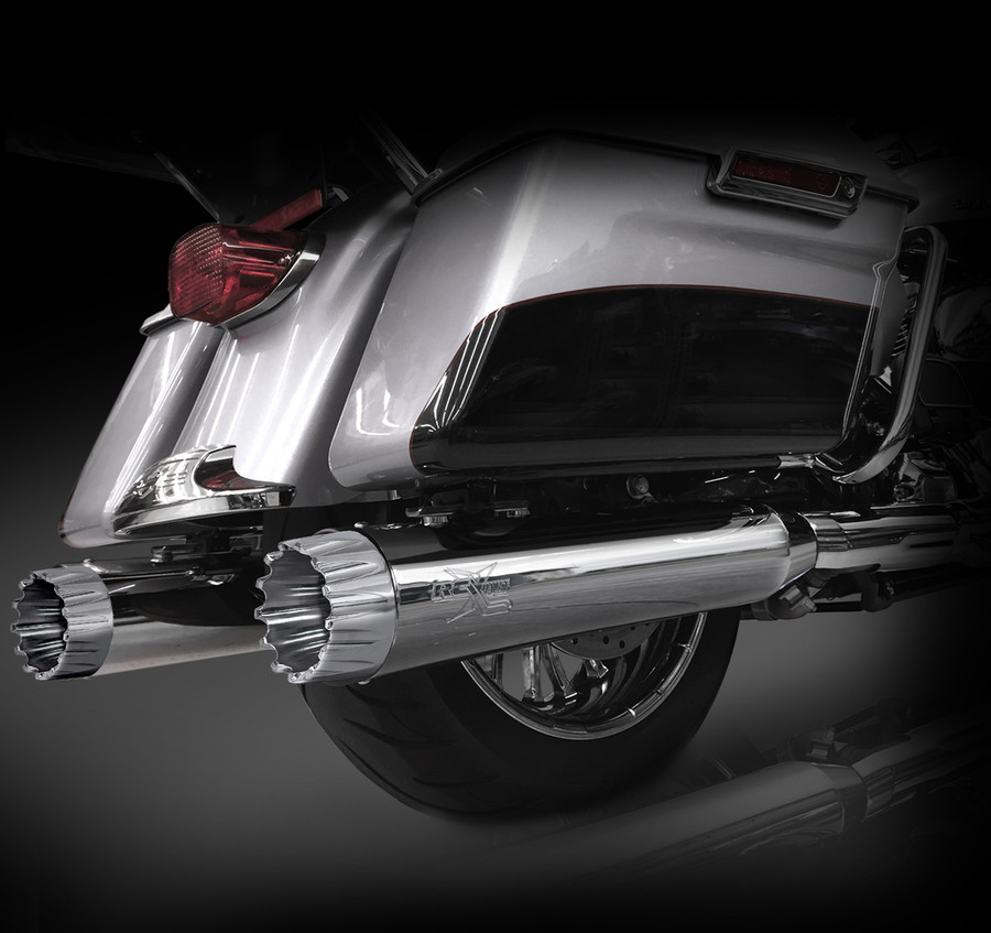 """RCX Exhaust 4.5"""" Slip-on Mufflers for 2017 Harley Touring, Chrome with Excalibur Chrome Tips."""