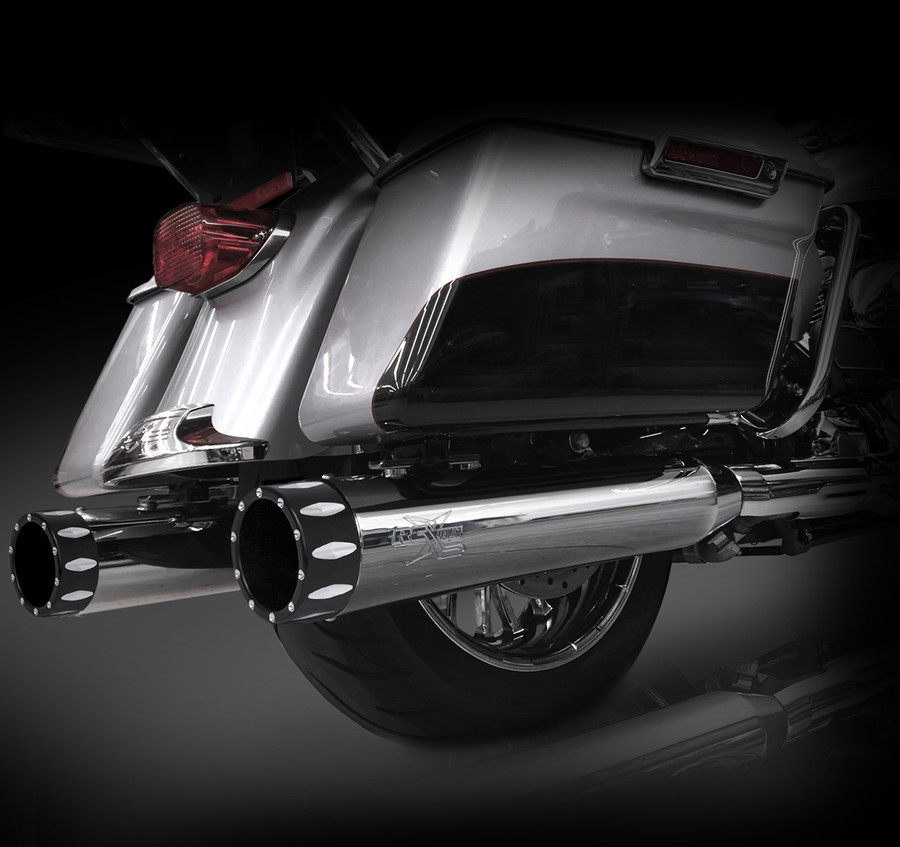 """RCX Exhaust 4.5"""" Slip-on Mufflers for 2017 Harley Touring, Chrome with Rival Eclipse Tips."""