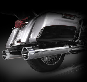 "RCX Exhaust 4.5"" Slip-on Mufflers for 2017 Harley Touring, Chrome with Rival Chrome Tips."